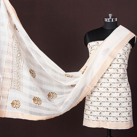 Original Mangalgiri Handloom Printed Cotton 3pc Suit Material with Zari Border