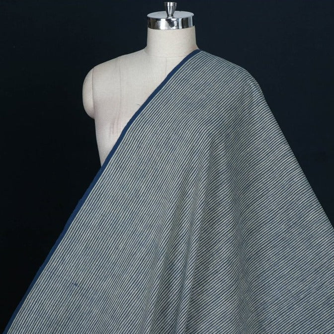 Dark Indigo - Malkha Pure Handloom Cotton Natural Dyed Fabric