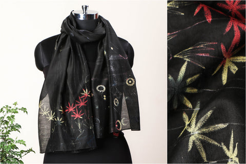 Special Cannabis Evolution Cycle Chanderi Silk Stitch Resist Dye Tricolour Base/Black Stole