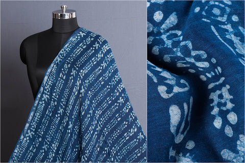 Indigo Block Printed Cotton Silk Fabric with Zari Border