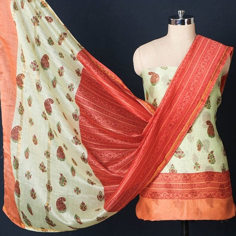 Handloom Chanderi Silk Block Printed 3pc Suit Material Set with Zari