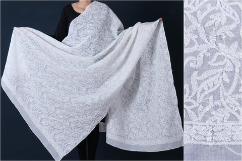 Lucknow Chikankari Hand Embroidered Full Jaal Cotton Dupatta