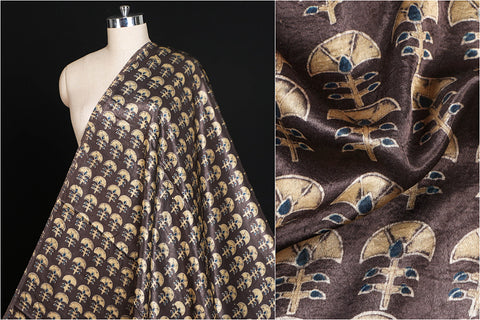 Special Ajrakh Hand Block Printed Mashroo Silk Natural Dyed Fabric