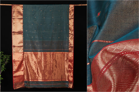 Traditional Chanderi Silk Ghani Zari Buti Handloom Saree by Rauph Khan