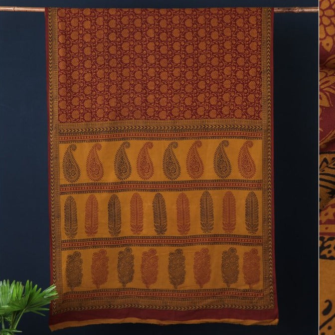 Natural Dyed Bagh Hand Block Print Pure Cotton Saree