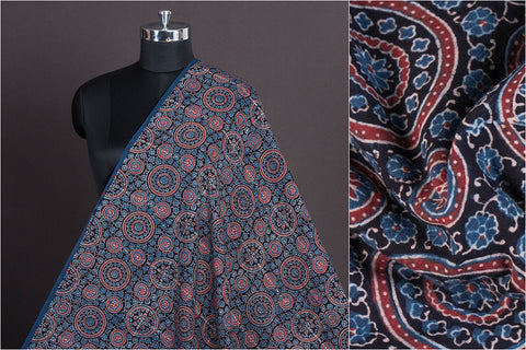 Sufiyan Khatri Special Cotton Ajrakh Natural Dyed Hand Block Print Fabric
