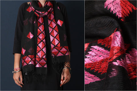 Traditional Phulkari Embroidered Kota Doria Silk Stole