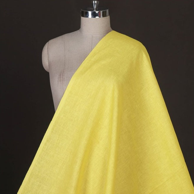 Bright Yellow - Handwoven Pure Linen Fabric from Bhagalpur