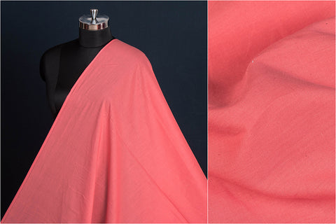 Coral Pink - Pre Washed Plain Pure Cotton Fabric (Width - 44in)