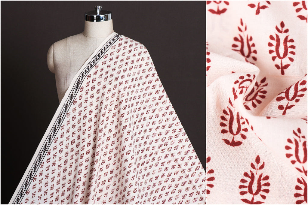 Natural Dyed Bagh Hand Block Printed Pure Cotton Fabric