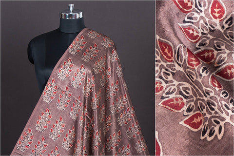 Special Ajrakh Hand Block Printed Mashru Silk Natural Dyed Fabric