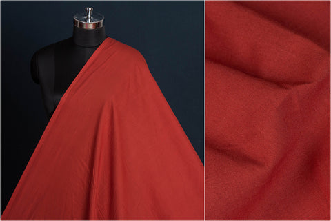 Dark Red - Pre Washed Plain Pure Cotton Fabric (Width - 44in)