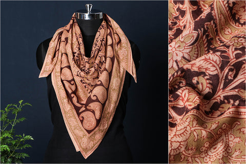 Original Pedana Kalamkari Block Printed Natural Dyed Cotton Scarf