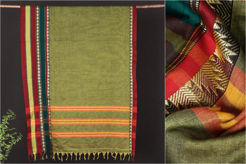 Traditional Narayanpet Mercerised Cotton Saree with Border