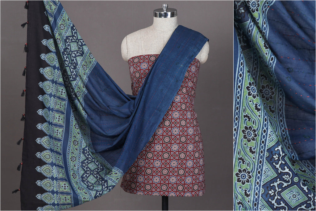 Special Ajrakh Tagai Work Cotton 3pc Suit Material Set