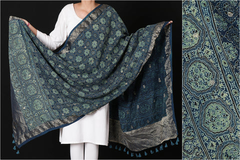 Sufiyan Khatri Special Modal Silk Ajrakh Block Print Natural Dyed Dupatta with Zari Border