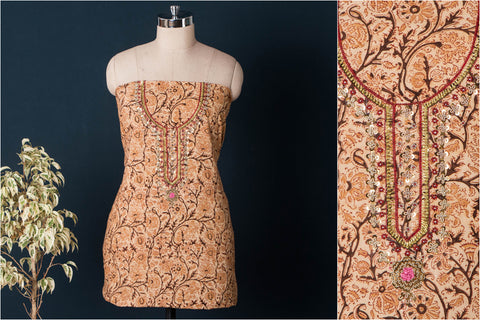 Hand Embroidered Bead Work Kalamkari Block Printed Cotton Kurta Material (2.6 meters)