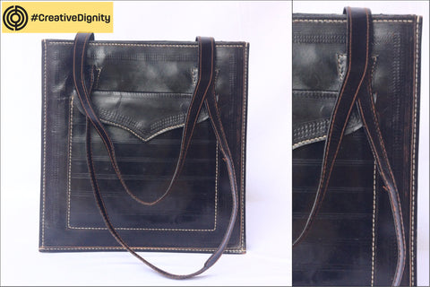 Handcrafted Kutch Leather Shoulder Bag by Anchal Bijlani