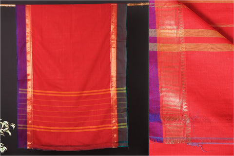 Traditional Kanchipuram Pure Cotton Zari & Thread Border Saree from Tamil Nadu