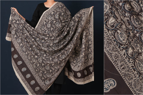 Original Pedana Kalamkari Block Printed Natural Dyed Cotton Dupatta
