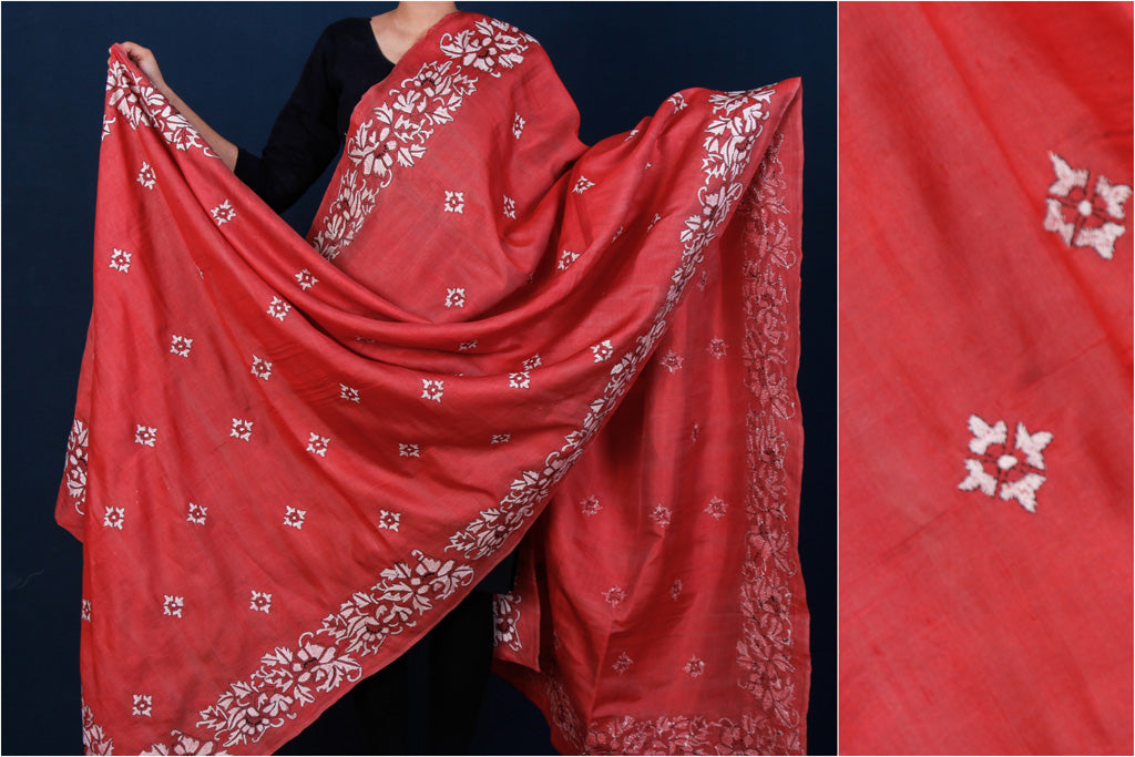 Bengal Kantha Embroidered Pure Katan Silk Handloom Dupatta