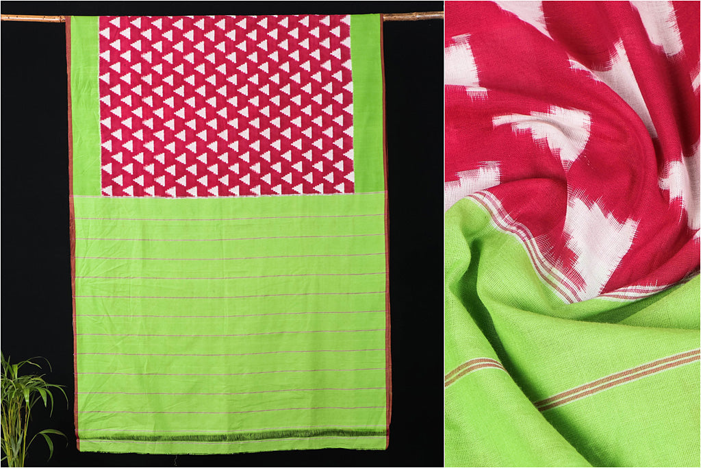 Telia Rumal Pochampally Handloom Double Ikat Cotton Saree by Abhihaara