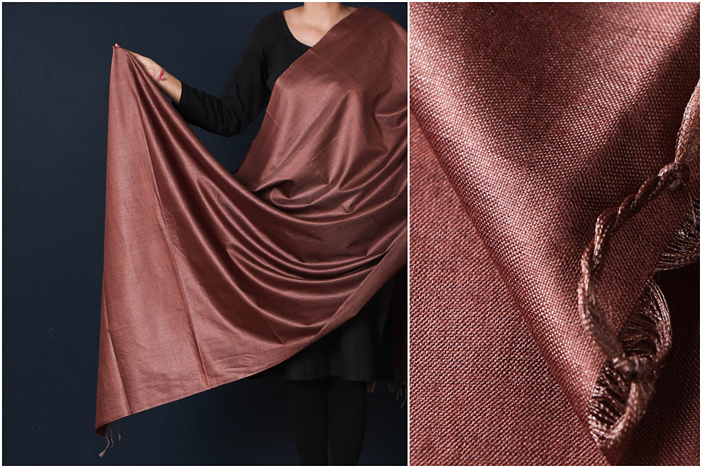 Chocolate Brown - Vidarbha Tussar Cotton Handloom Dupatta
