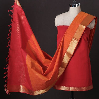 Original Mangalgiri Handloom Cotton 3pc Suit Material Set with Zari Border