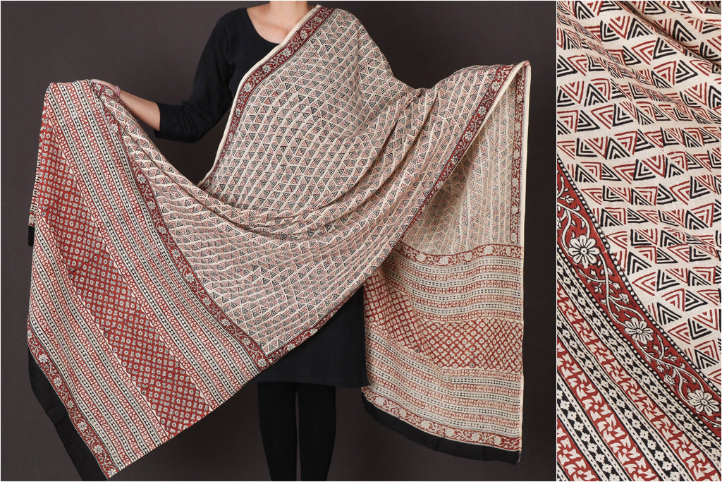 Bagru Block Printed Mul Cotton Dupatta