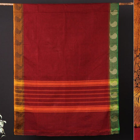 Traditional Chettinad Kandangi Pure Cotton Thread Border Saree from Tamil Nadu