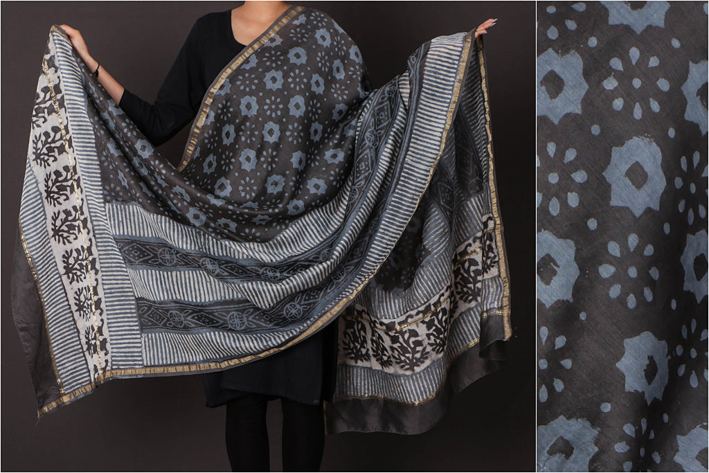 Bagru Block Printed Chanderi Silk Dupatta with Zari Border