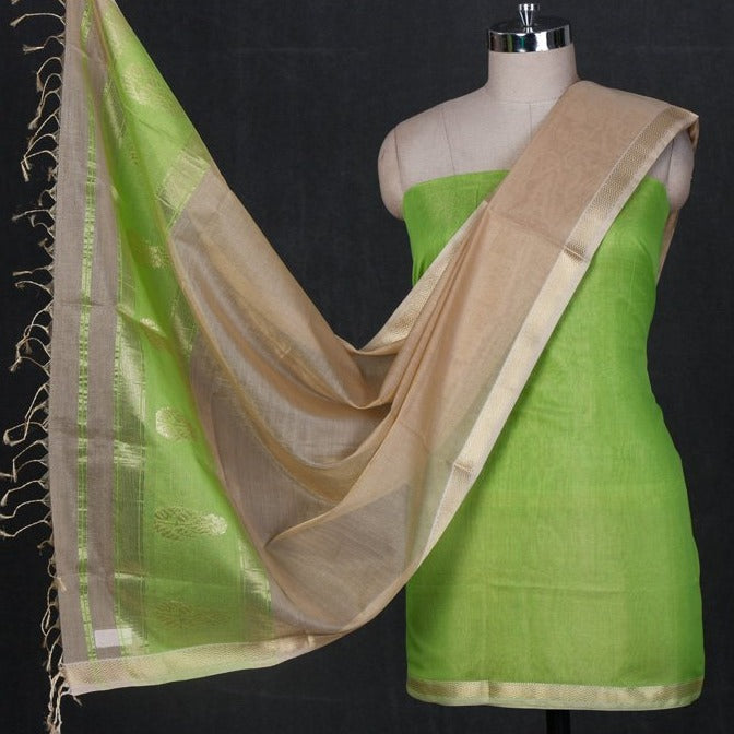 Original Maheshwari Silk Pure Handloom Zari Weave 2pc Suit Material Set
