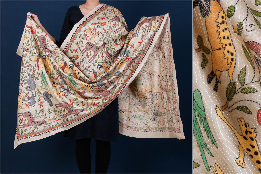 Bengal Kantha Embroidered Pure Tussar Silk Handloom Dupatta