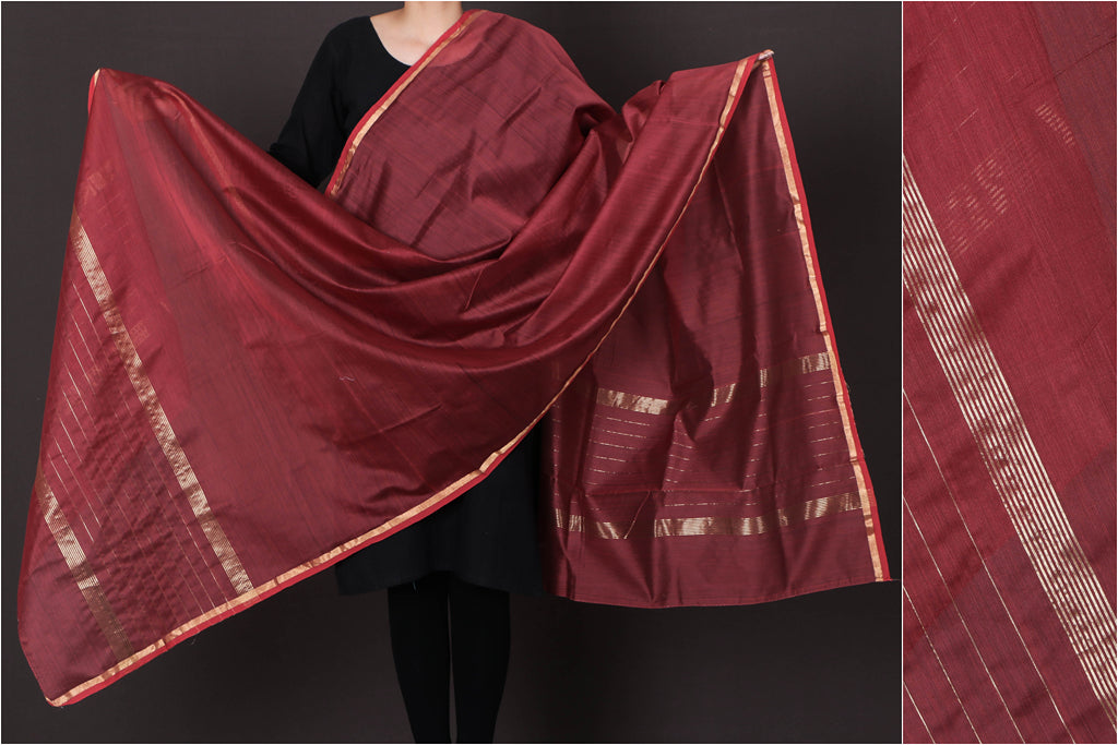 Chanderi Silk Handloom Dupatta with Zari by Rauph Khan