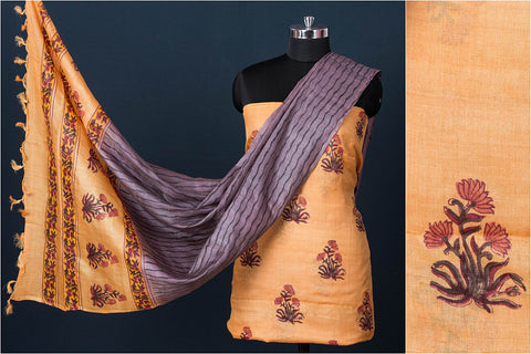 3pc Handloom Pure Tussar Silk Sanganeri Block Print Suit Material Set