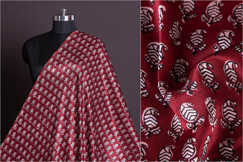 Special Mashru Silk Bagh Hand Block Print Natural Dyed Fabric