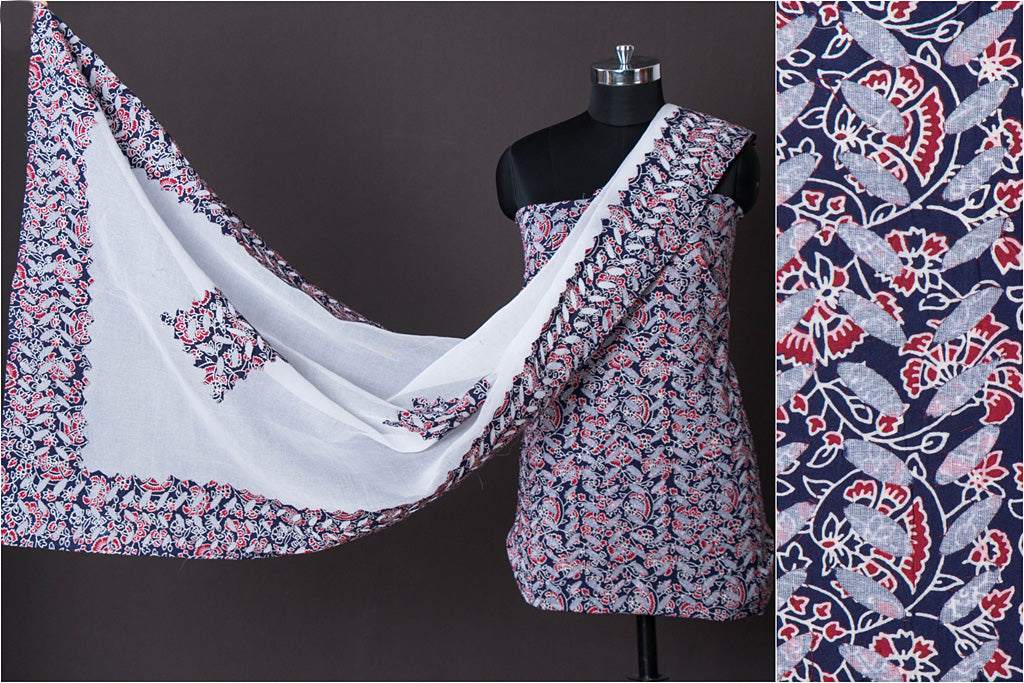 Ajrakh Print Barmer Applique Cut Work Cotton 2pc Suit Material Set