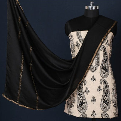 2pc Chikankari Hand Embroidered Chanderi Silk Suit Material Set with Zari Work