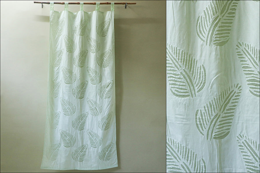 Barmer Applique Leaves Cut Work Door Curtain (7 x 3.5 feet)