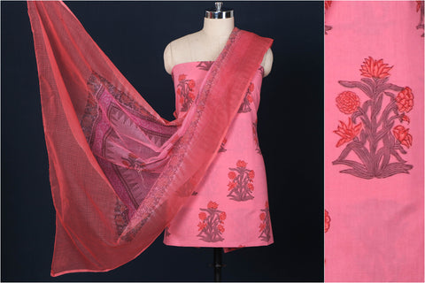 2pc Sanganeri Block Print Cotton Suit Material Set with Kota Doria Dupatta