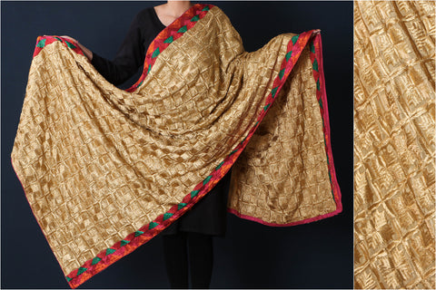 Traditional Phulkari Embroidered Jaal Silk Cotton Dupatta