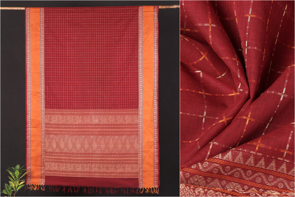 Traditional Handloom Kanchipuram Pure Cotton Checks & Buti Saree from Tamil Nadu