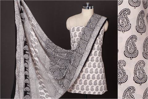 3pc Bagh Block Print Natural Dyed Cotton Suit Material Set
