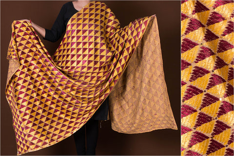 Traditional Phulkari Heavy Hand Embroidered Jaal Silk Cotton Dupatta by Lajwanti