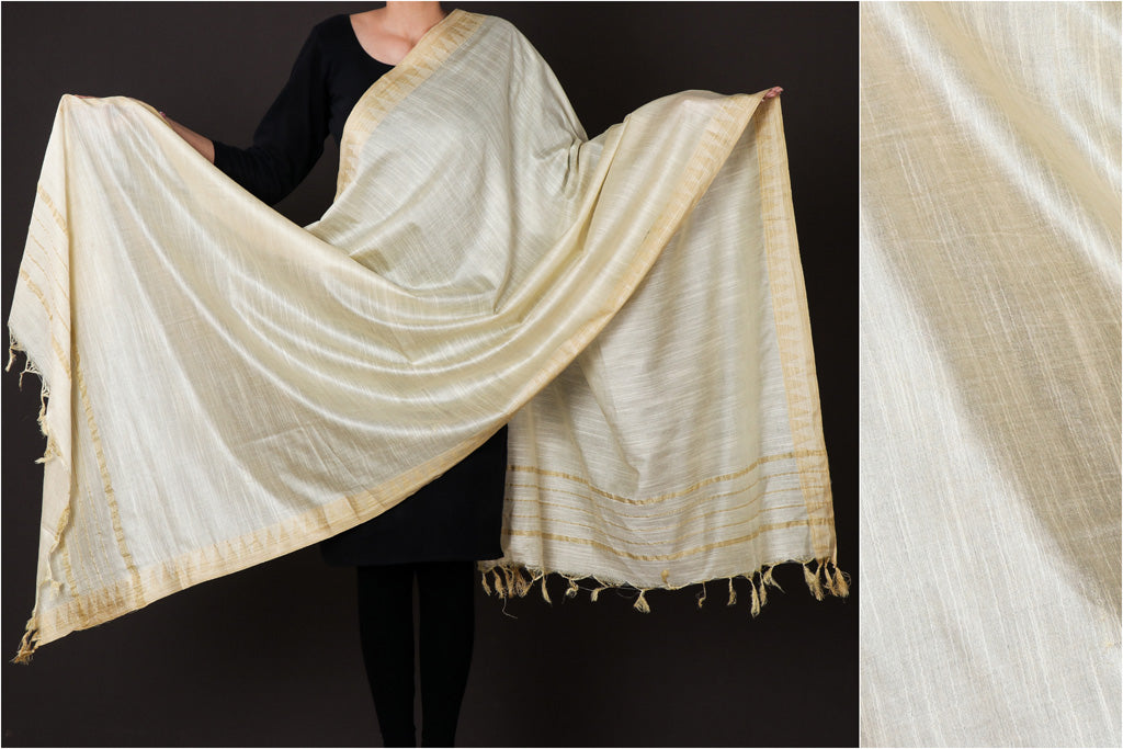 Cream - Mulberry Silk Handloom Dupatta with Tassels