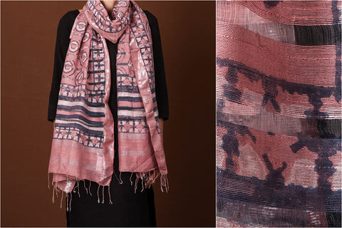 Bagru Dabu Hand Block Print Chanderi Silk with Zari Stole