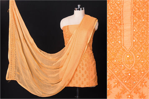 Traditional Phulkari Embroidered Silk Cotton 3pc Suit Material Set with Chiffon Dupatta