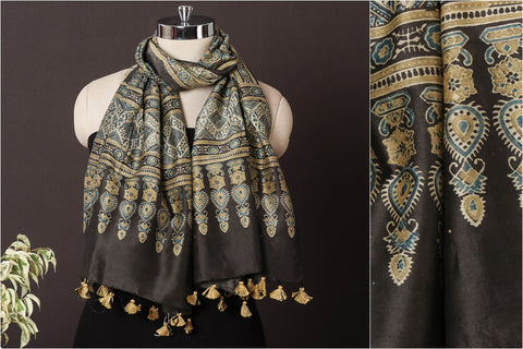 Sufiyan Khatri Special Chanderi Silk Ajrakh Block Print Natural Dyed Stole with Tassels