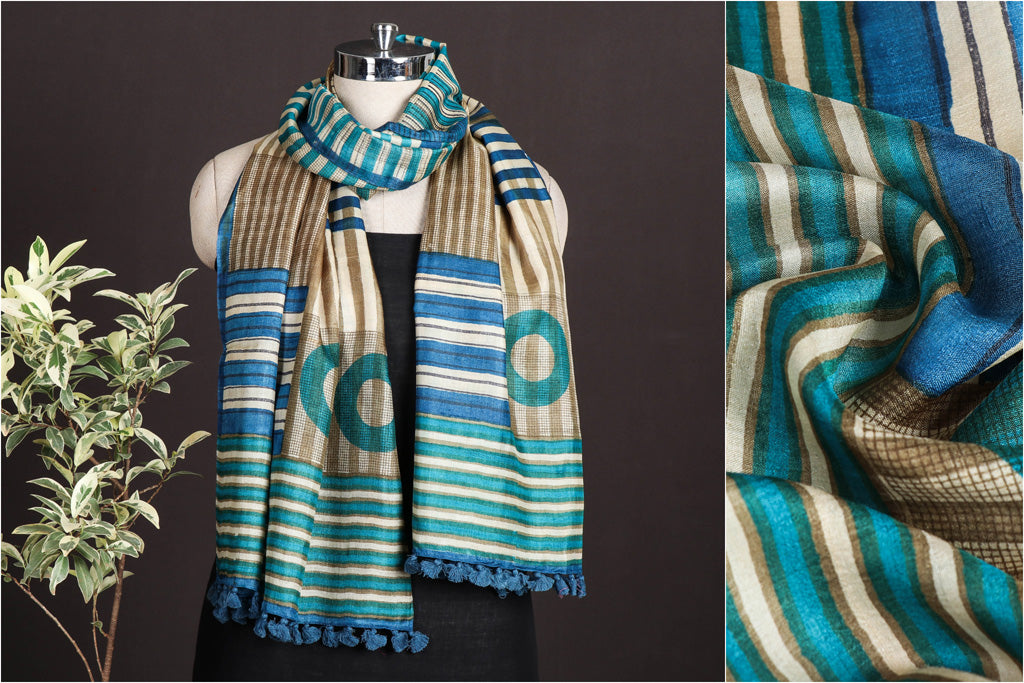Special Handwoven Tussar Silk Hand Block Printed Stole with Tassels