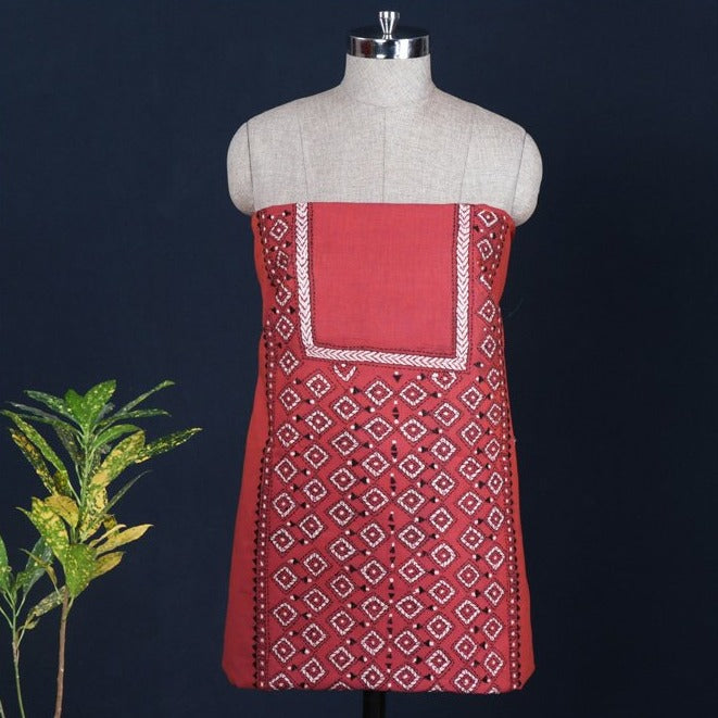 Bengal Kantha Embroidered Handloom Pure Cotton Kurta Material